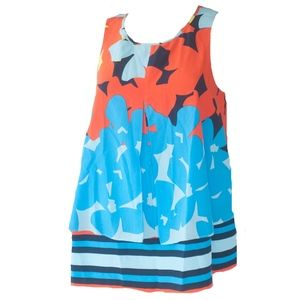 Crown & Ivy Blue & Orange Floral Stripe Tank Top